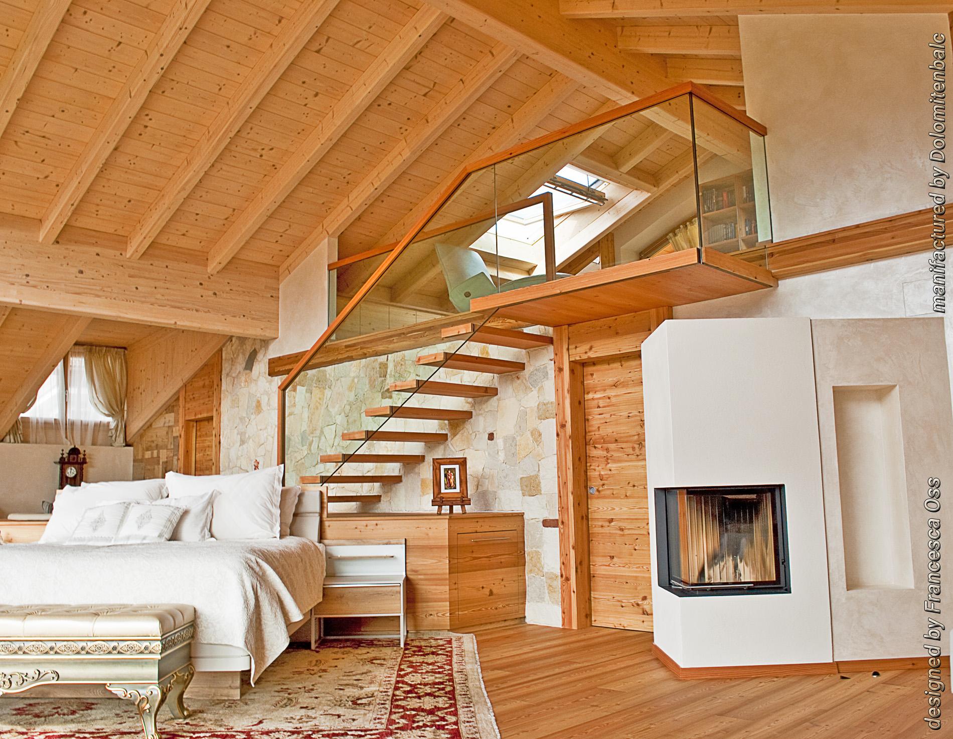Scaletta In Legno Per Soppalco : Luxury home in val di fiemme mansarda in legno scale in legno